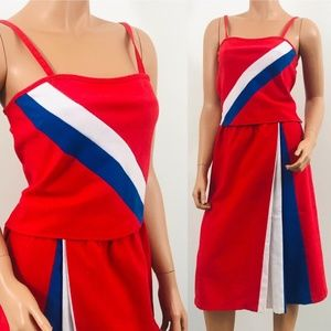 Vintage 1970s red blue striped skirt top set
